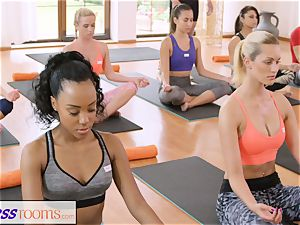 FitnessRooms gang yoga session concludes with a creampie