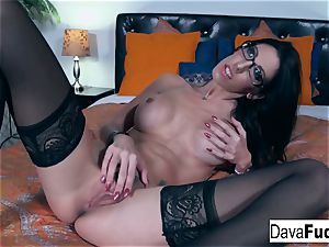 scorching dark-haired Dava plays with her tight pussy