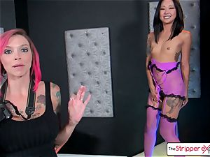Anna Bell and Saya get a adorable fuck by a ample salami