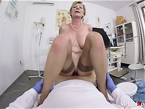 huge-chested grannie gets point of view pulverized by her doctor