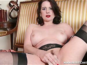 milf strips off retro undergarments playthings bud in nylon high-heeled shoes