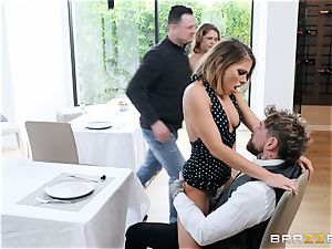 Adriana Chechik gets her cootchie crammed up with hefty prick in restaurant