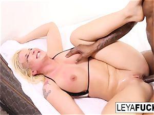 Leya gets a fat ebony prick in her culo