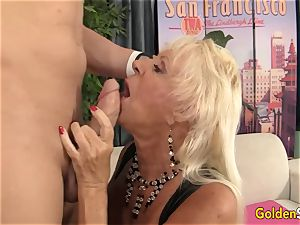 Floppy jugged grannie tears up a smoothly-shaven boy
