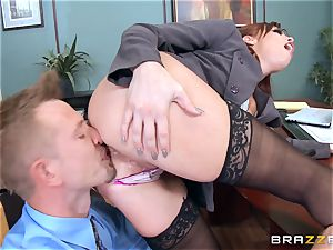 ginger-haired chief Britney Amber plumbs a nasty employee