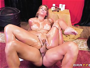 Oiley Mercedes Carrera banged ample time by ginormous jizz-shotgun