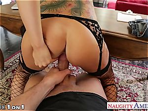 Alluring Romi Rain gets her trimmed cootchie fucked