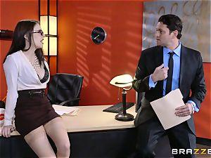 Anna De Ville bangs her job interviewee