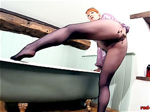 crimson gonzo frolicking with her gash while in pantyhose