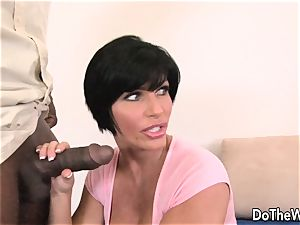 brown-haired wife takes humungous ebony lollipop