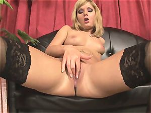 Pretty Victoria shine frolicking with a phat red faux-cock