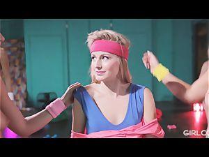 GIRLCORE Aerobics Class Leads to girl-on-girl spurting hookup
