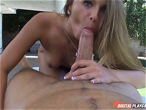 muddy blond Jillian Janson cootchie plucked on rubdown table outdoors