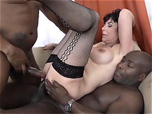 granny threesomes with two black studs plow sausages in facehole