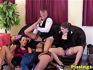 euro damsels in a gang getting freaky with urinate