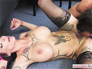 big-titted pervert gal with hefty milk cans gets romped on the office desk