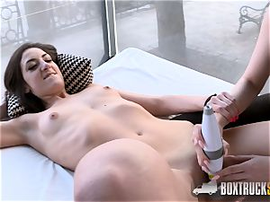 steaming Angel Wicky uses two massagers on Miky enjoy in Public