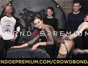 CROWD restrain bondage - extreme bondage & discipline fuck wheel with Tina Kay