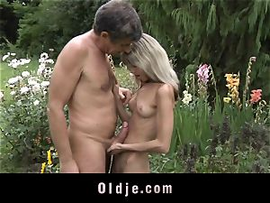 Gina Gerson gets ass-fuck from an old stud
