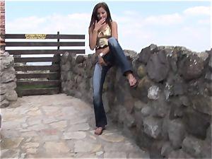 Eroberlin Anita pleasure button outdoor teenager jerk public