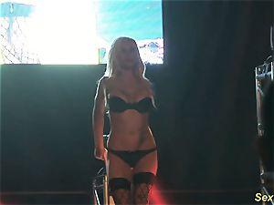 big-boobed cougar lapdance on stage
