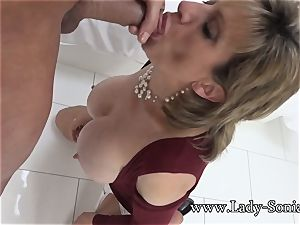 female Sonia Mature honey greased Up And deep throating wood