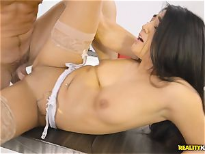 Facializing the torrid multi servicing maid Lexy Bandera after super-hot rock hard plow