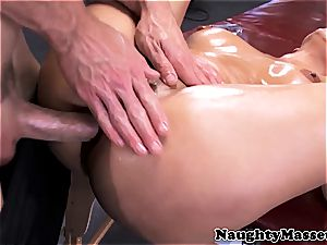busty gal given a massage while nude before providing head