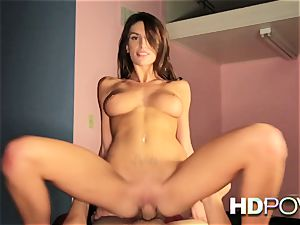HD pov hot brown-haired with giant bosoms enjoys to juggle trunk
