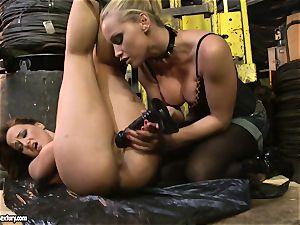Andy dark-skinned and Kathia Nobili butt dildoing rock hard