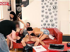 euro babes enjoy anal invasion three way during casting