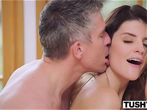 TUSHY huge-titted dark-haired Gets Her caboose dominated By boss