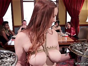 ebony and redhead rectal pounded in group