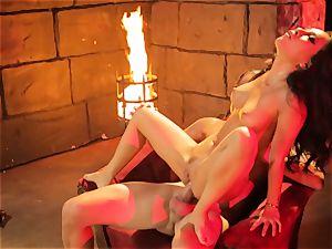 Asa Akira gets her sizzling lips plump a meaty lengthy trunk