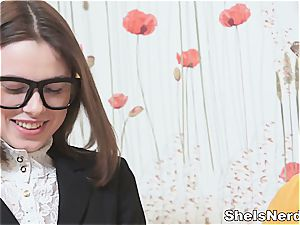 Nerdy teenager gets a huge stream on her glasses