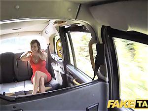 faux cab nymph in brief sundress gets a cab internal cumshot