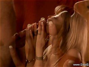 luxurious blonde blow-job For Indian salami