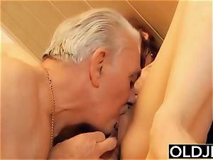 slut rock-hard poked by elderly super-naughty fellow in her vagina