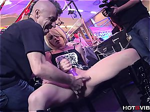 light-haired plays with her vag and squirts in public