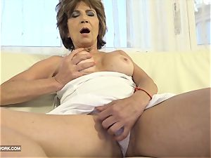 unshaved older pussy and backside shag with immense meatpipe dark-hued dude