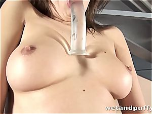 insane lady in high high-heeled shoes teasing herself