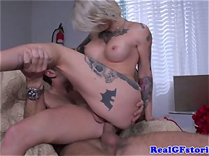Tattood blond cougar banged in pink hole