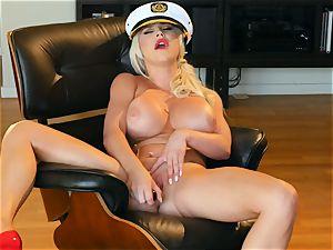platinum-blonde ultra-cutie Spencer Scott strokes in sailor costume