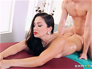 brown-haired gets more than a massage