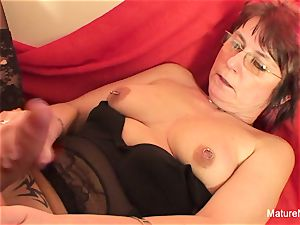 Punky pierced grannie loves to inhale and poke