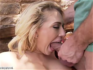 lewd buxom towheaded Kagney Linn Karter gets drilled outdoor
