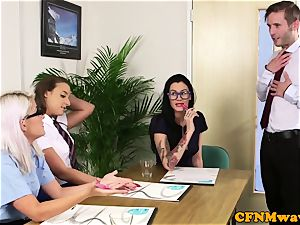 CFNM office babes deepthroating coworkers prick