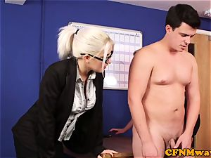 Dom CFNM honeys deep throating and tugging in office