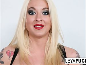 molten meaty tittie platinum-blonde Leya gets her rump fucked