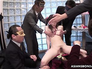 hooded boys have fun with tied up mushy nipples